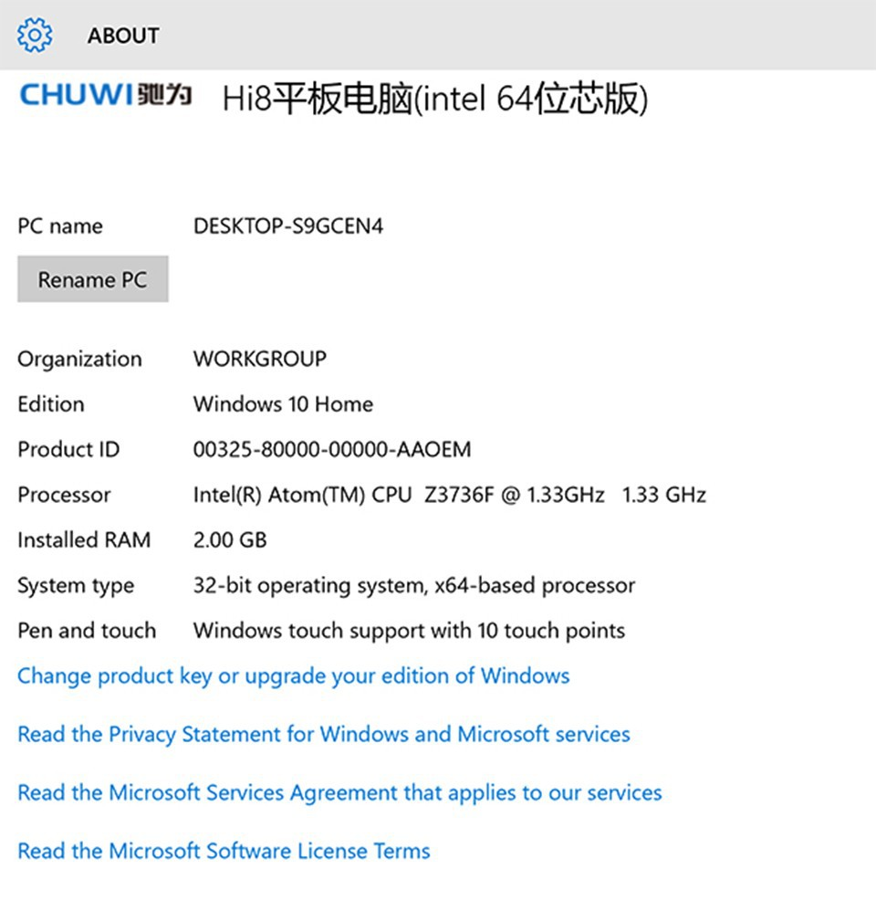 Newest 8'' Win10 Chuwi HI8 Dual boot tablets pc Intel Z3736F Quad Core 2GB/32GB 1920*1200 multi language