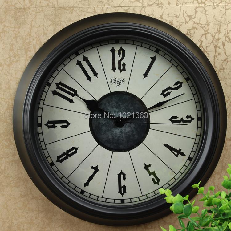 2015 home decoration 36cm beautiful design metal quartz wall clock living room antique black color quiet - Woodpecker Houseware Enterprise store