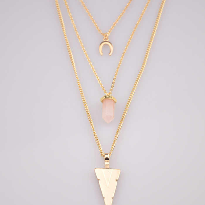 New Fashion Gold Plated Chain Women Necklaces Wholesale Fashion Accessory Drop Alloy Triangle Resin Stone Layered Necklaces 2015(China (Mainland))