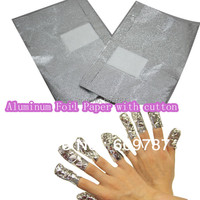 150PCS Aluminum Foil Paper with cutton FOR UV gel wraps remover