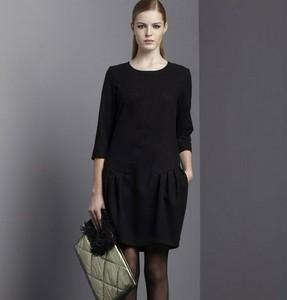 2012 autumn fashion thickening long-sleeve plus size clothing long-sleeve half sleeve one-piece dress