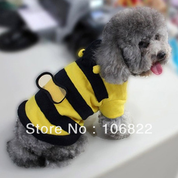 dogs pets clothing and clothesCute Fleece Bumble Bee Lovely Wings Dog Cat Pet Costume Apparel Clothes Coat LX0112 Free shipping&