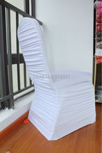 Hot SaleNew products in August White Ruffle Lycra Chair Cover / Spandex Chair Cover For Wedding Decoration(China (Mainland))