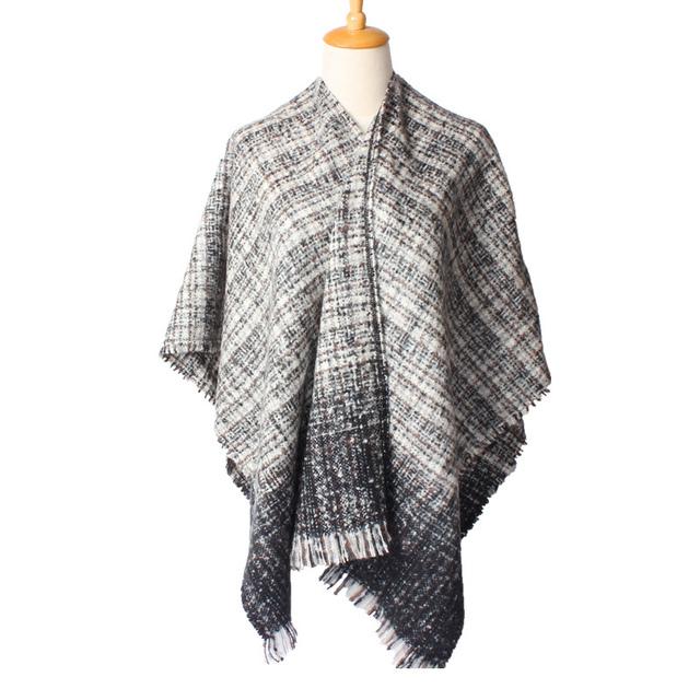 2016 новое поступление зима мода женщин евро черный белый цвет фуркальные платки толстые согреться толстый длинный шарф 400 г