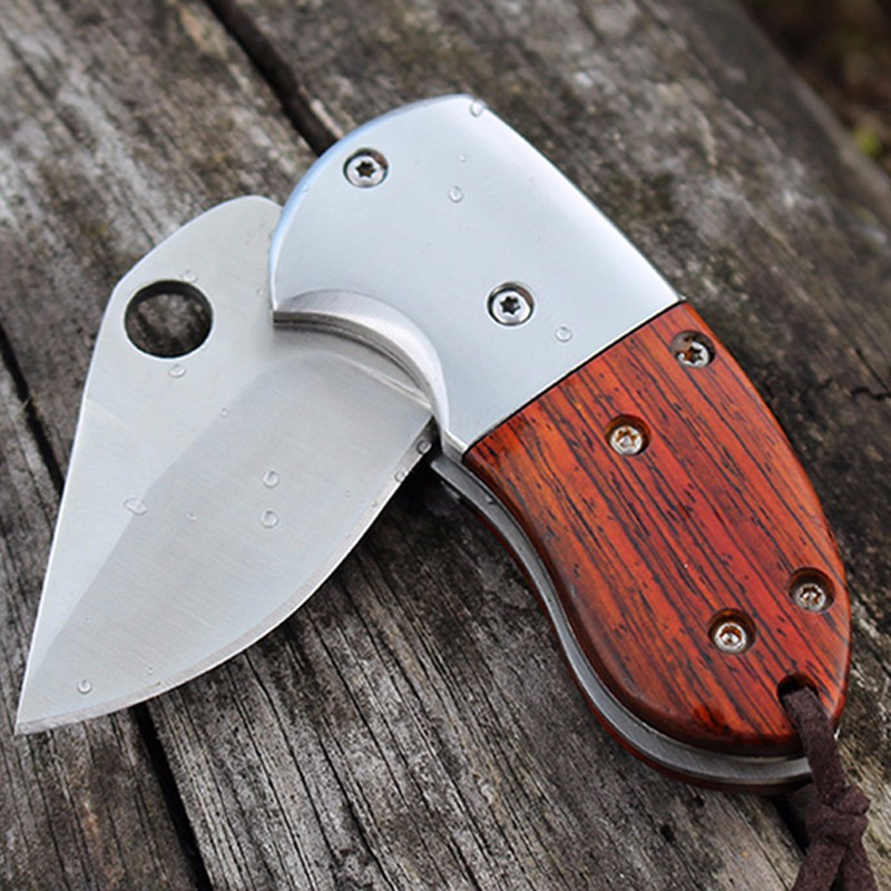 Buy D2 HIGHT QUALITY MINI Folding Blade Knife Wood Handle Tactical Hunting Camping survival Pocket Knife 59HRC cheap