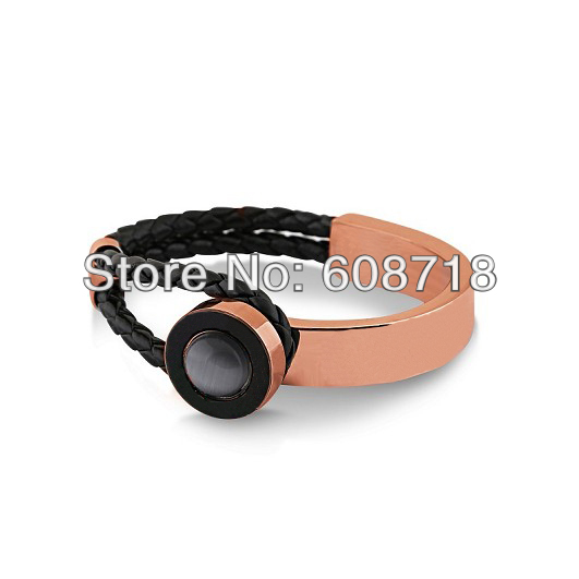Wholesale Fashion Jewelry,Double Tour Weave Leather Bracelet,With 18K Rose Gold Plated Metal and Grey Ball.A Joyful Jewelry Gift(China (Mainland))