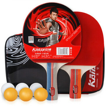 Free Shipping Sports Table Tennis Racket Ping Pong Paddle Long Short Handle Table Tennis Set 2 Racket + 6 Ball + 1 Bag(China (Mainland))