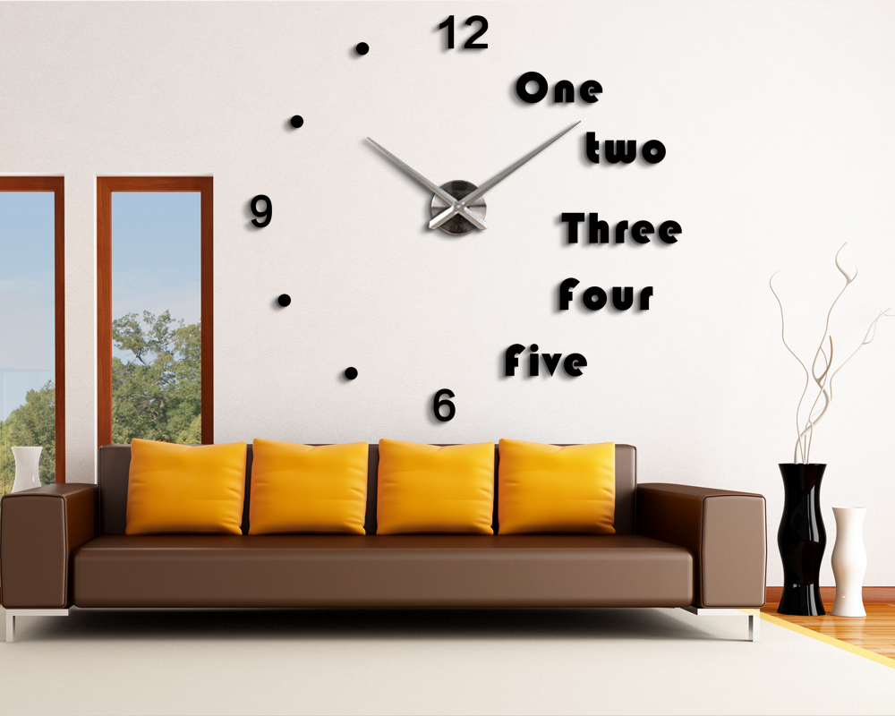 2015 new fashion acrylic mirror wall clock digital decorative Home decoration 3d diy sticker unique gift living room - DIY Decorations-Factory store