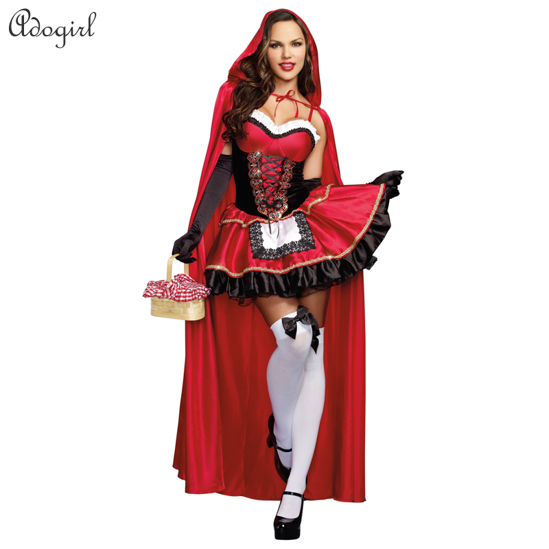 Halloween Costume Women Little Red Riding Hood Nightclub Queen Cosplay Stage Performance dresses costume Easter carnival Day