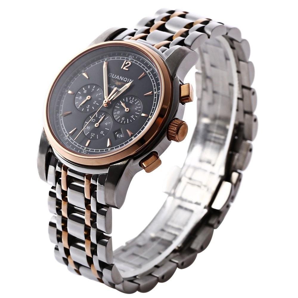 GUANQIN GJ16003 Водонепроницаемость Мужчины Япония Модные Кварцевые Часы Из Нержавеющей Стали Ремешок Рабочих суб-набор