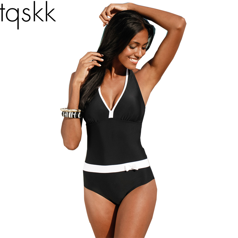 TQSKK 2016 New One Piece Swimsuit Women Vintage Bathing Suits Halter Top Plus Size Swimwear Monokini Swimsuit Summer Beach Wear(China (Mainland))