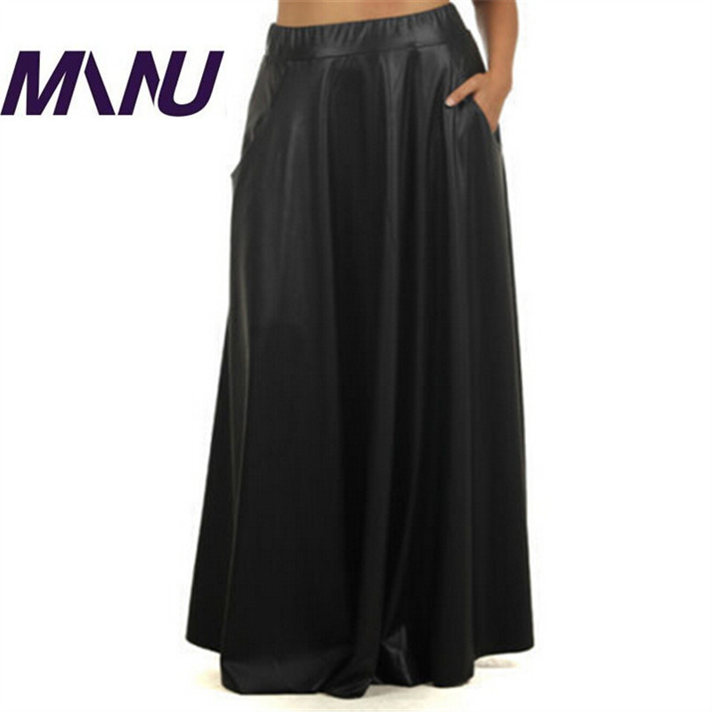 skirts with pocket pu bodycon black sweep maxi
