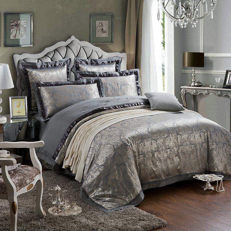 4pcs set luxury beautiful flower printed damask bedding