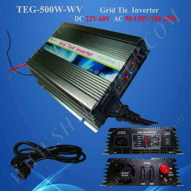 500W Grid Tie Inverter,mppt function,Micro Grid Tie Inverter,22-60VDC,190V-260VAC