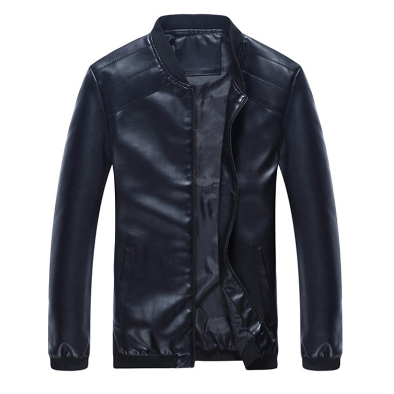 New Men's Spring Autumn Faux Leather Jackets Male Slim Stand Collar Brand Clothing Men Casual Coats PU Thin Outwear M-4XL,LA050