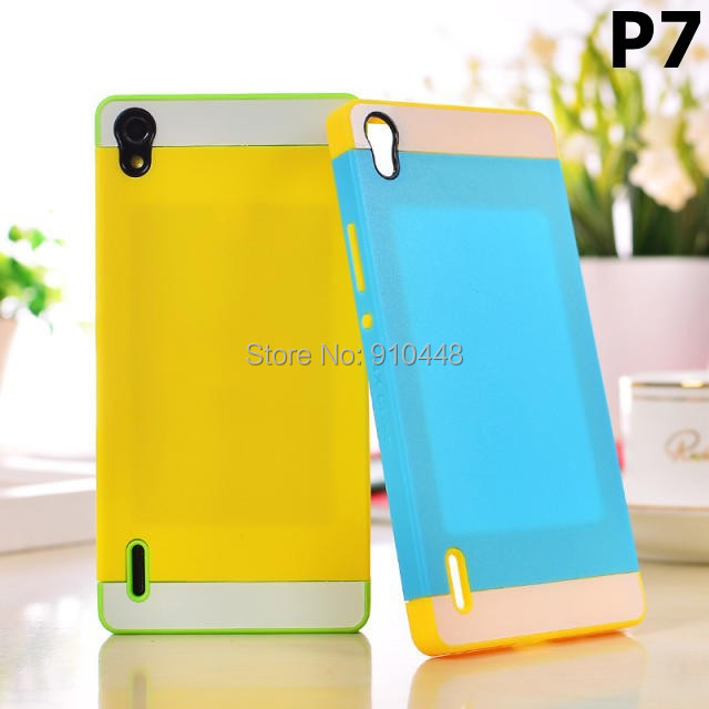 Shock Proof NX 2 IN 1 card Hybrid TPU Colorful Silicone PC Hard back Case Cover Huawei Ascend P7 - E-Credible Technology Co.,Ltd. store