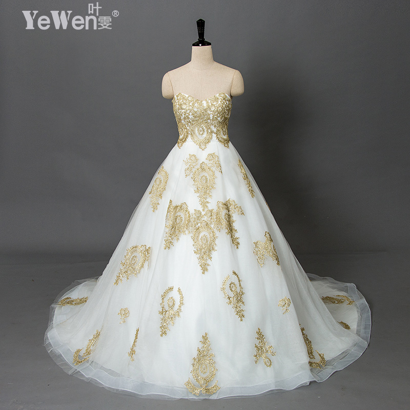 Vintage Wedding Dresses Gold : Aliexpress buy yewen wedding gowns vintage beach plus size gold