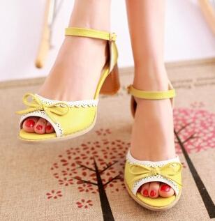 2016 Fashion Women's Mary Jane Job School summer sweet bow thick heel open toe sandals Plus Big size customize 40-43 New(China (Mainland))