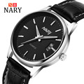 Nary Watches Men Business Fashion Leather Wristwatch Waterproof Watches Quartz Watch Personality Casual Relogio W0809