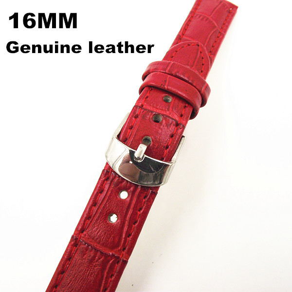 Retail - 1PCS High quality 16MM genuine leather Watch band  watch strap red color-070703<br><br>Aliexpress
