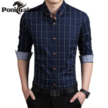 Brand Clothing Men Shirt Full Sleeve Cotton Turn-Down Collar Plaid Chemise Homme Camisa Masculina Burderry Fashion Casual Shirt