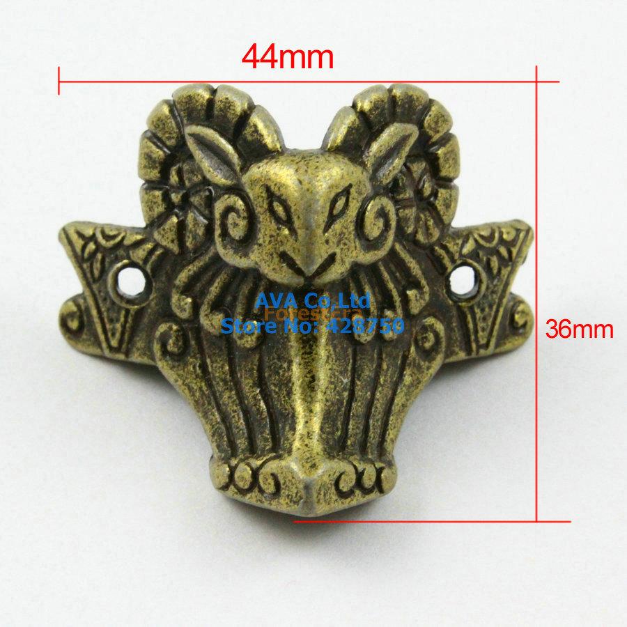 4 Pieces Antique Brass Jewelry Box Feet Animal Box Leg 44x36mm