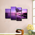 4 piece modern canvas wall art handmade nature scenery landscape Purple paintings canvas trees in living