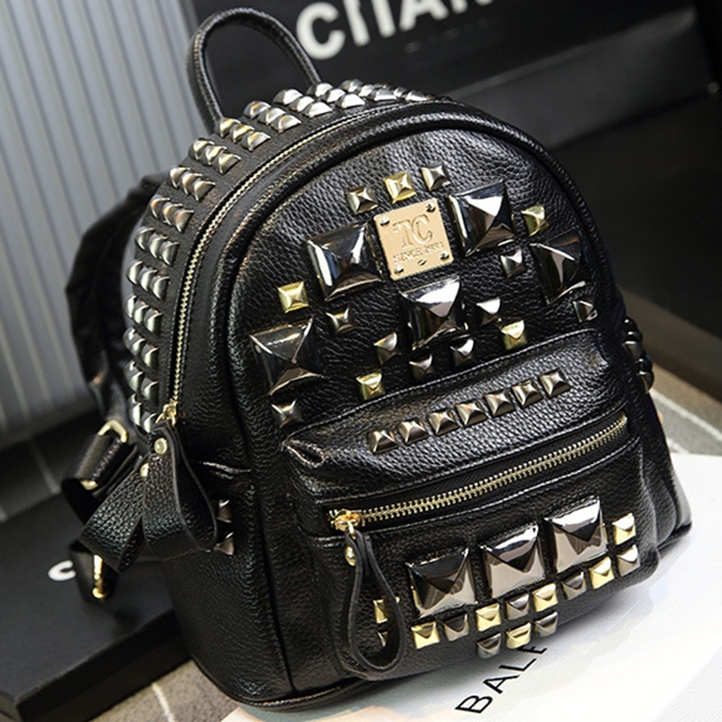 Punk Rivet Backpacks Free Shipping Daily Preppy Style Leather Backpack For Women Rock Cool Silver Special Double Shoulder Bags<br><br>Aliexpress