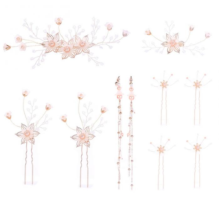 FORSEVEN золотого цвета с цветами и жемчугом Шпильки серьги свадебные шпильки для