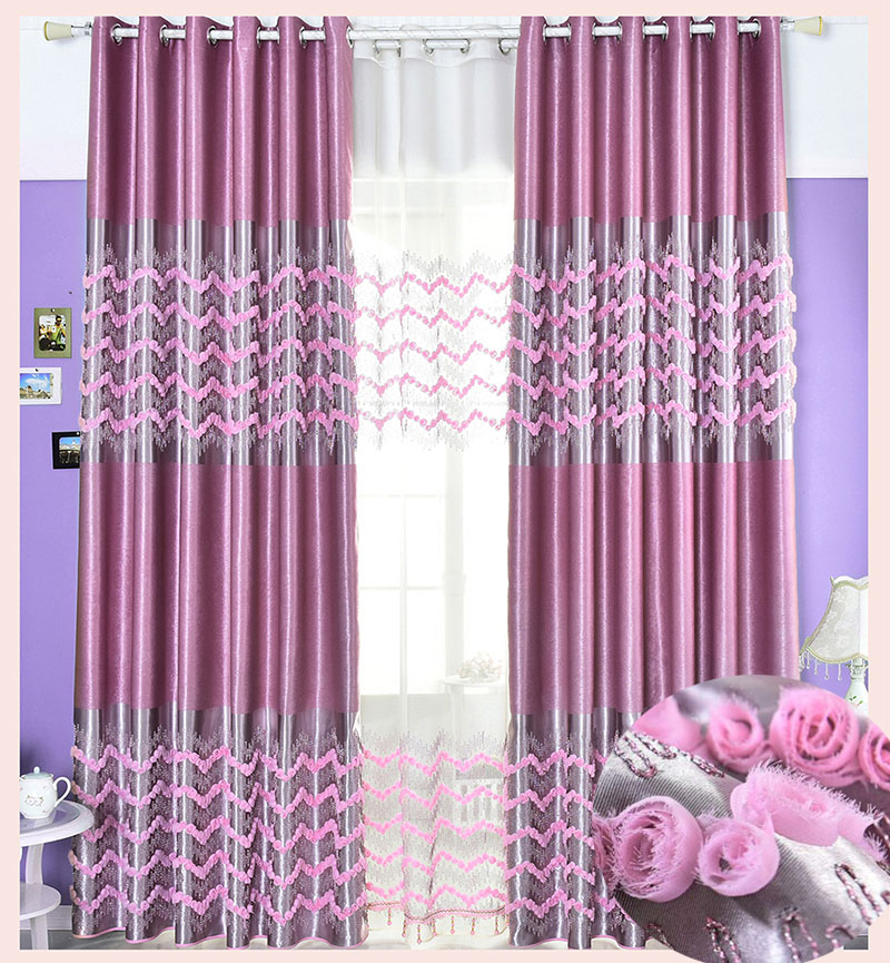 Curtain blackout embroidered floral height 280cm curtains for Cortinas verdes para salon
