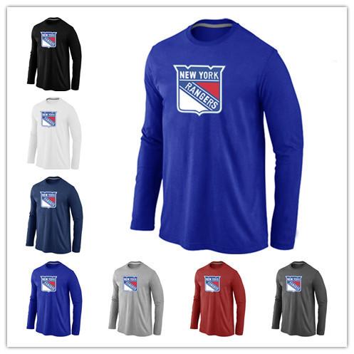 Cheap New York Rangers Hockey Long Sleeve T Shirts Big&Tall Logo Fashion Rangers Hockey Tees Shirt Cotton O-Neck T-shirt(China (Mainland))