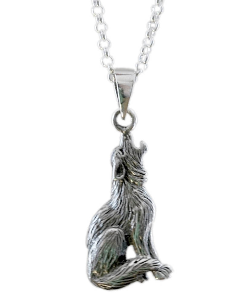 Silver wolf necklace alloy werewolf pendant animal goth dog celebrity fan movie tv inspired birth totem howl XR022(China (Mainland))