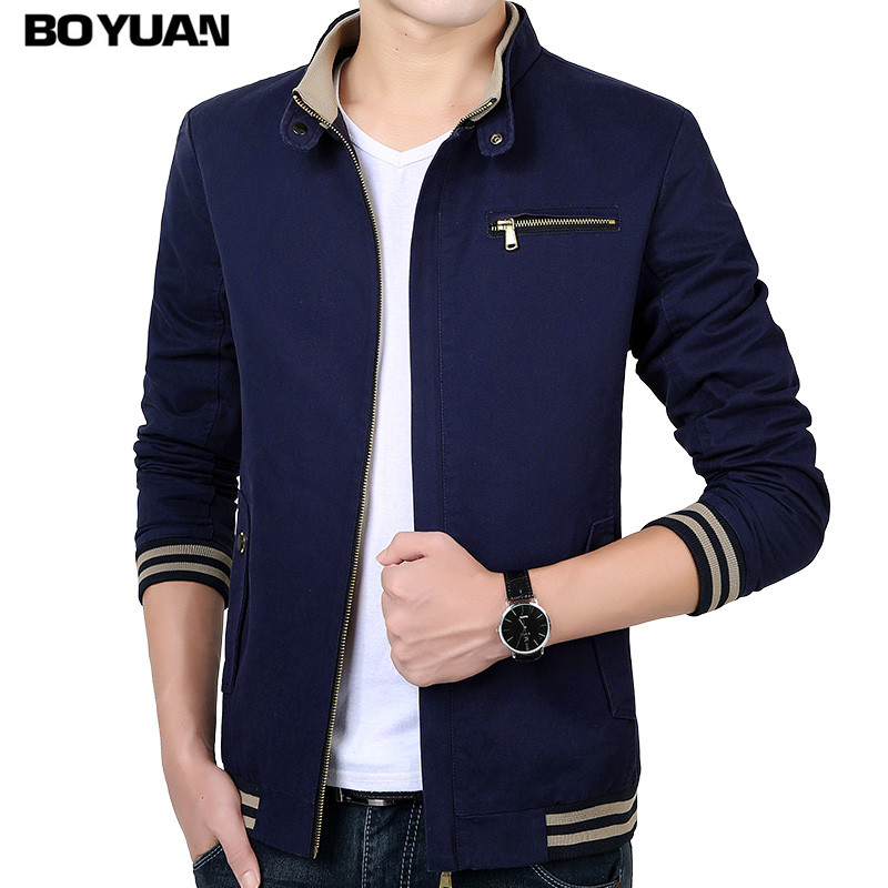 BOYUAN Bomber Jacket Brand Clothing 2017 Aumtum Spring Jacket Men Stand Collar Plus Size M-4XL Slim Fit Casual Solid Coat BY813(China (Mainland))