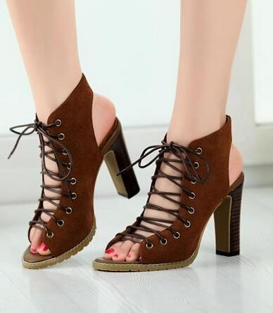 Фотография Summer fashion brown and black suede leather cross lace-up sandals thick heel woman peep toe high heels elegant slingbacks