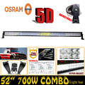 5D ForOsram 700W 52 Spot Flood Combo LED Light Bar Straight External Car Lights Trailer SUV