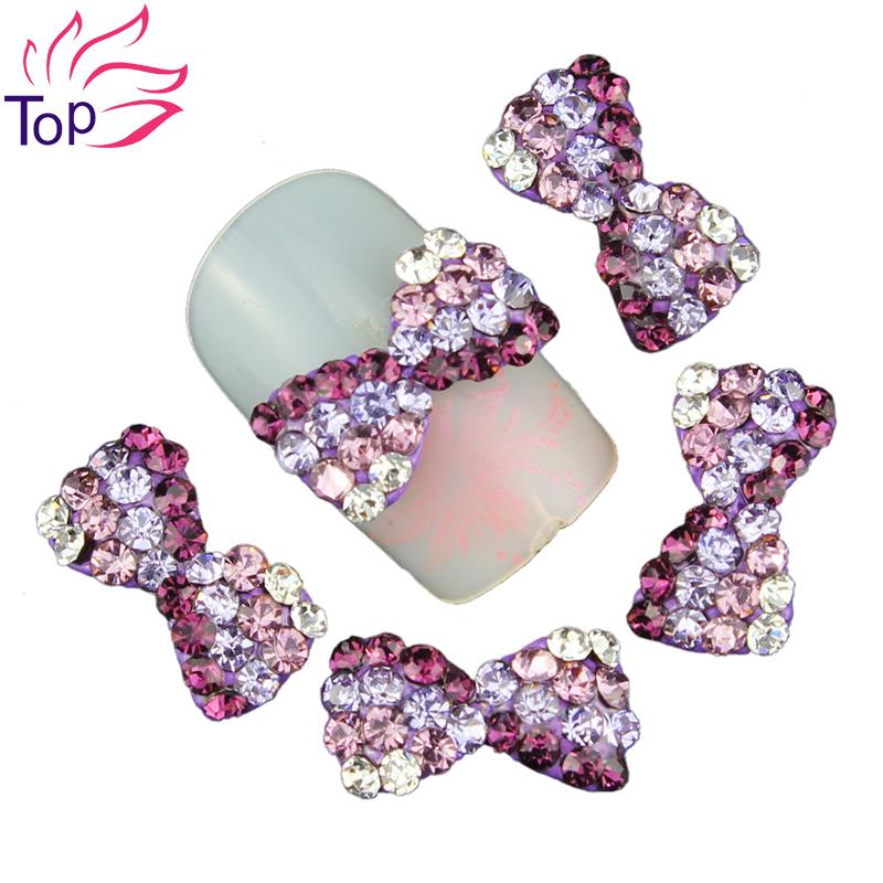 Top Nail Blue Pink Purple Alloy Rhinestones Bows Decorations For 3D Strass Nail Art Full Crystal Tie Nail Studs Supplies TN1561(China (Mainland))