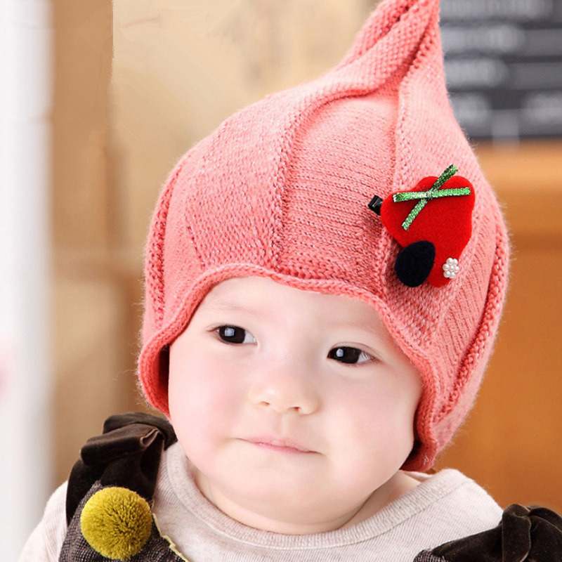 Kids winter hats solid knitted sharp baby hat crochet beanie bonnet enfant baby girls hats newborn baby photography 6-30 months(China (Mainland))