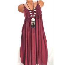 5XL сексуальное женское элегантное платье на бретельках, женское однотонное кружевное сексуальное длинное платье, летнее платье, распродажа...(China)
