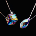 925 Sterling Silver Crystal Necklaces Pendants For Women Rubik s Cube Star Fish Clover Necklace Sterling