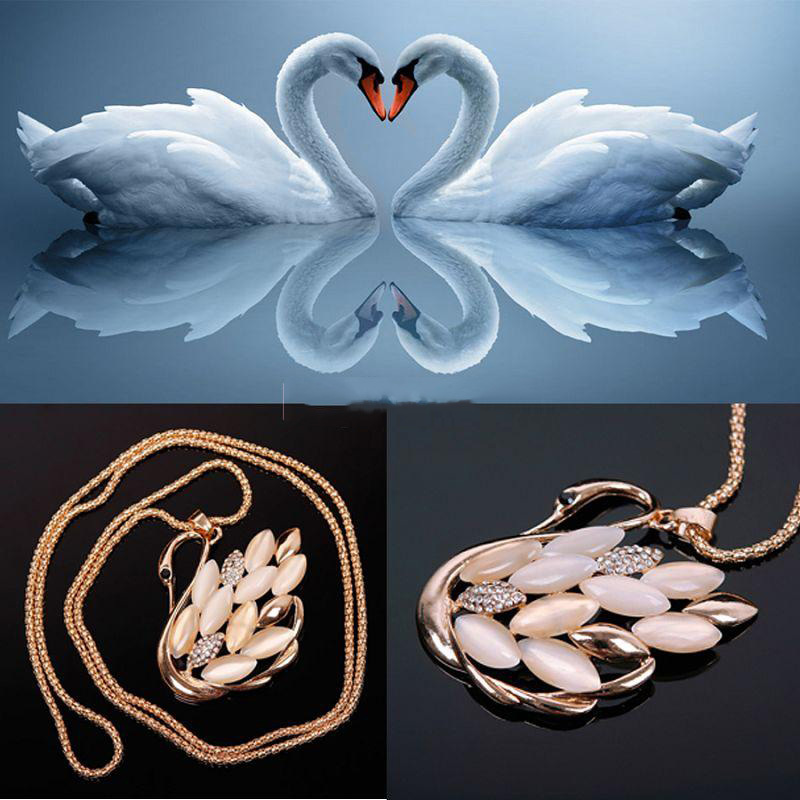 Discoutine Modern Design Charm Woman Lady Jewelry Swan Opal Crystal Retro Pendant sweater Chain Necklace Unique - discoutine store