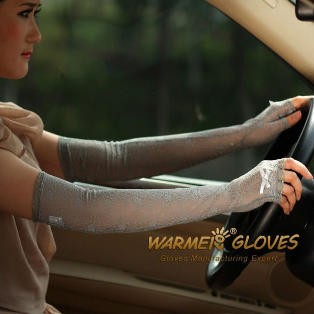 Women's UV Protection Sun Block Bridal golf driving  Long lace fingerless gloves