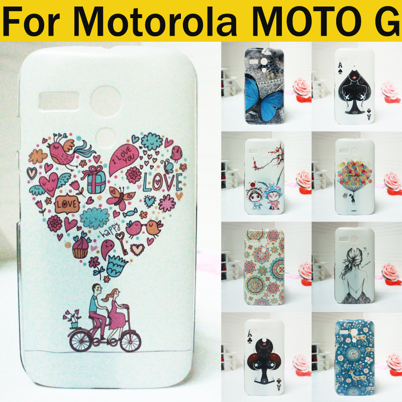 High Quality Ultra thin slim Painted Cute Lovely Cartoon UV Print Hard Cover Case For Motorola MOTO G case many pattern in stock(China (Mainland))