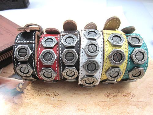 Punk Rock New women Men Genuine Cow Leather Bracelet Wristband Cuff screw bracelet Bangle(China (Mainland))