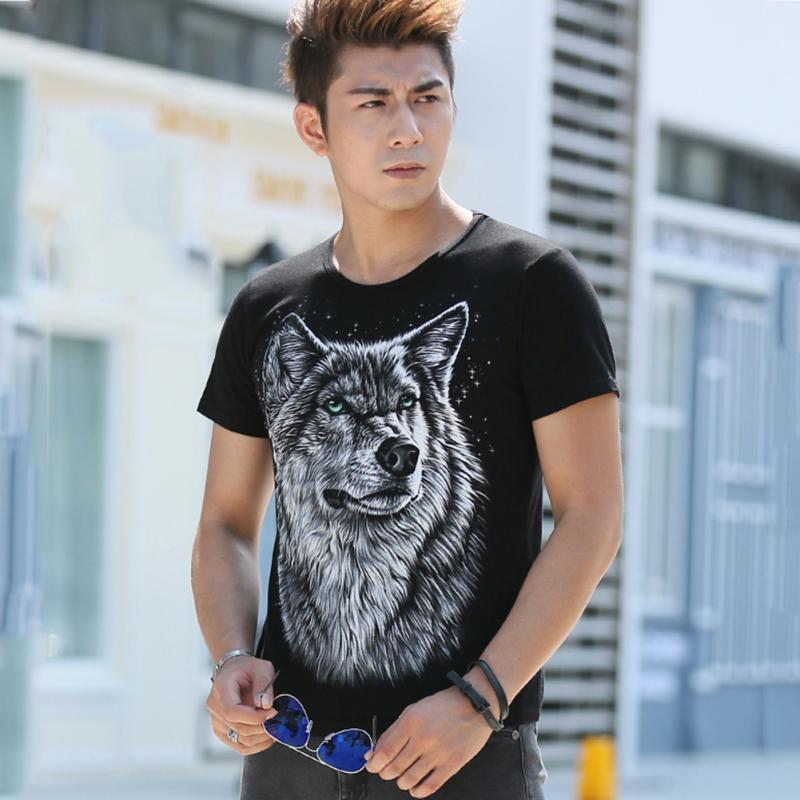 New 2016 Summer T-shirt Men 3d Print Wolf Short Sleeve T Shirts Casual Brand Men 100% Cotton Shirt Men Clothes Tops(China (Mainland))