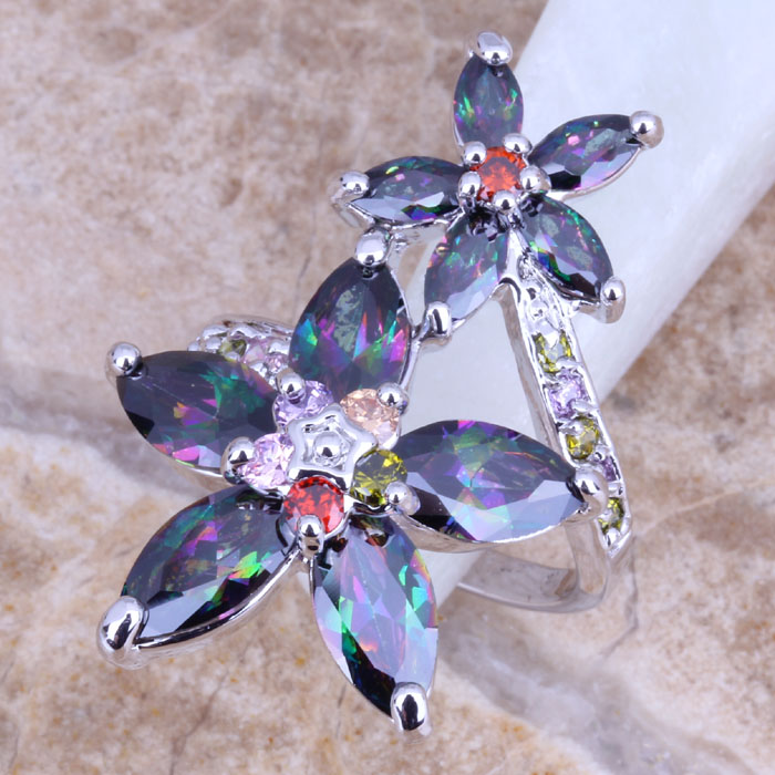Rainbow Mystic Topaz Multigem 925 Sterling Silver Overlay & Gift Bag Women's Big Ring Size 6 / 7 8 9 E800 - jewelry1688 store
