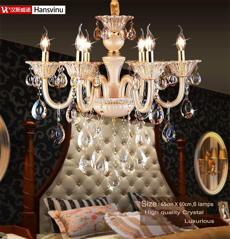 Modern 6 E14 LED lamps Factory cheap crystal chandelier modern rectangular Gold - lights Expert store