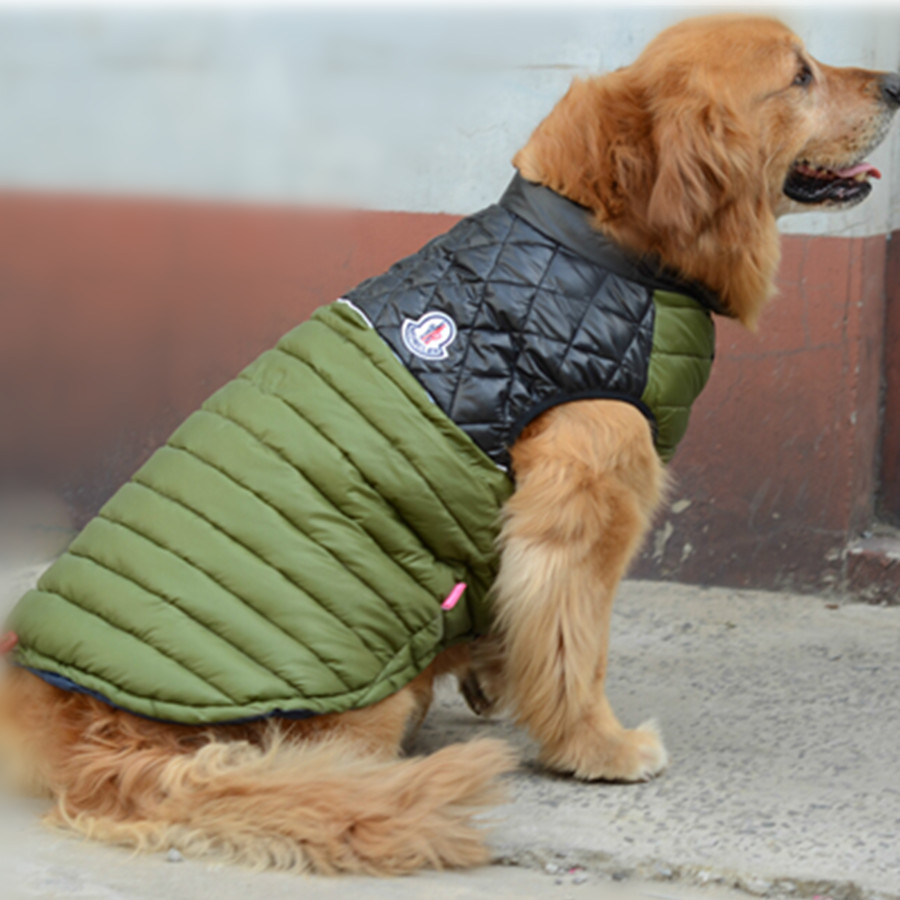 Big Dog Clothes Warm Winter Vest Jacket Coat Clothing For Large Golden Retriever Tibetan mastiff With Leash Hole(China (Mainland))
