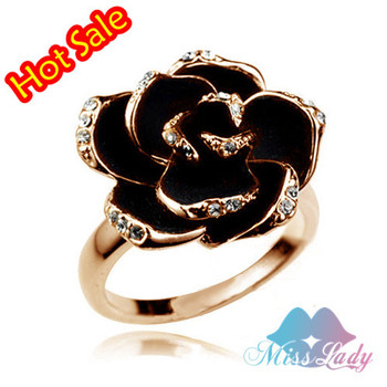 New 2014 18K Gold Plated Austrian Crystal Trendy Rose flower The Party O Rings Wholesales Fashion Jewelry for women Z1223