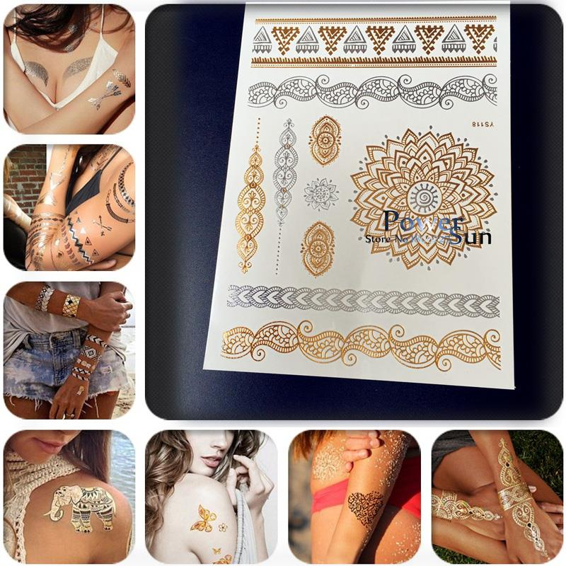 1PC High Quality Golden Tattoo For Women PYS-118, Sex Products Crystal Tattoo, India Sunflower Henna Bracelet Metallic Tatoo Arm(China (Mainland))