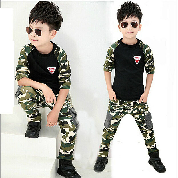 2015 New Camouflage Kids Clothing Set for Boys Girls Spring Autumn Cotton Camo Boys Sports Set